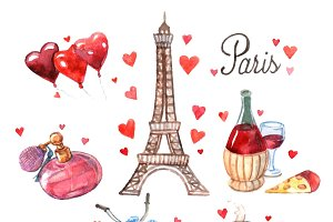 Paris watercolor symbols composition