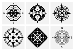 Sea compass icons set
