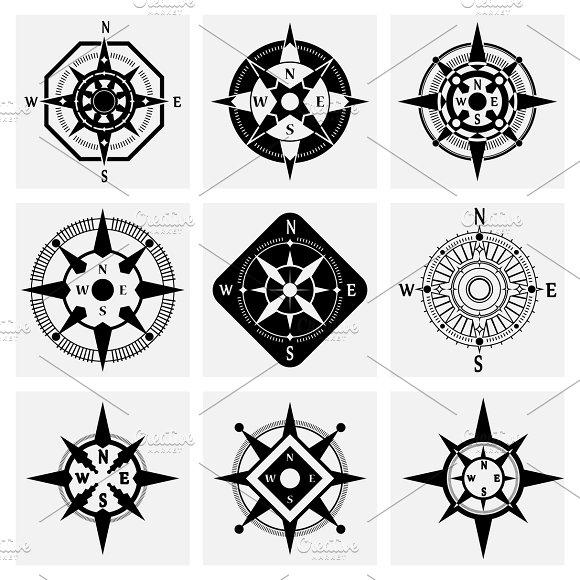 Sea Compass Icons Set