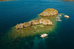 Aerial view tropical lagoon,sea, beach. Tropical island. Busuanga, Palawan, Philippines.