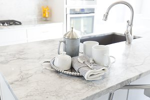 White Coffee Set on Granite
