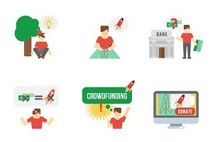 Crowdfunding flat icons set