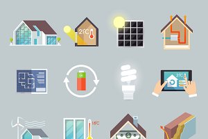 Energy saving house icons set