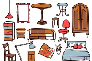 Home furniture sketch icons set
