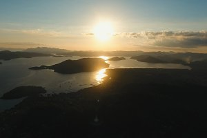 Beautiful sunset over sea, aerial view. Busuanga island Philippines.