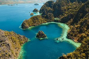 Beautyful lagoon in Kayangan Lake, Philippines, Coron, Palawan.