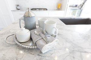 Blue Coffee Press on Granite