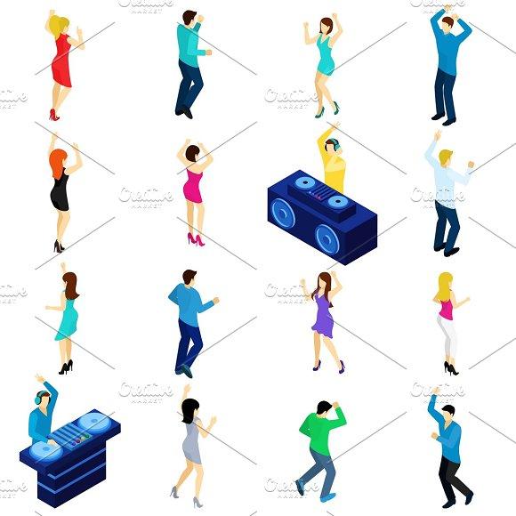 Dancing People Isometric Set