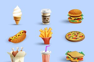 Fast food icons cartoon set