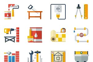Home repair flat icons set