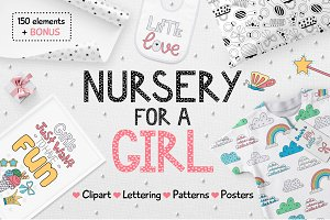 Nursery for a girl-Clipart&Lettering