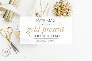 Gold Present Stock Photo Bundle