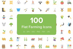100 Farming Flat Vector Icons
