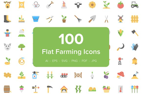 100 Farming Flat Vector Icons