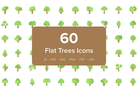 60 Trees Flat Vector Icons