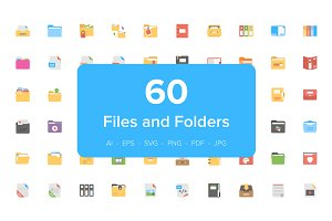 60 Files and Folders Flat Icons