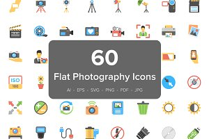 60 Photography Flat Vector Icons