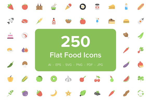250 Food Flat Vector Icons