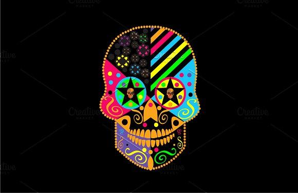 Skull Vector Neon Colors