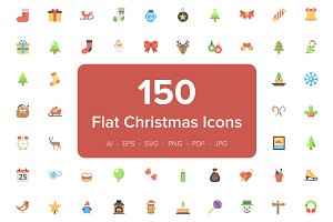150 Christmas Flat Vector Icons