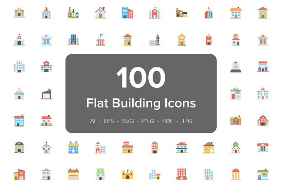 100 Buildings Flat Vector Icons