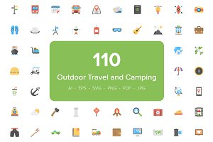 110 Outdoor Travel and Camping Icons