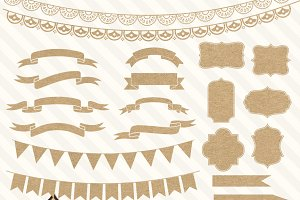 Kraft Paper Banners & Labels Clipart