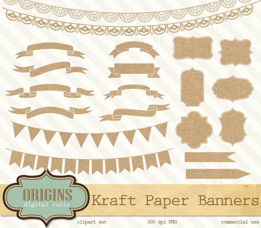 Kraft Paper Banners Labels Clipart Graphic Objects Creative Market