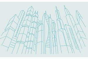 Big city skyscraper sketch buildings. Blue line skeleton strokes Modern architecture landscape. Hand drawn vector stock illustration.