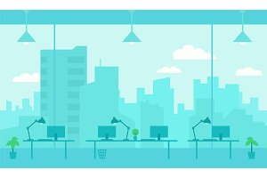 Office workplace. Blue color background room large window with splendid view skyscrapers city. Flat color vector illustration stock clipart.