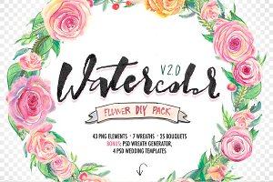 Watercolor flower DIY Pack2
