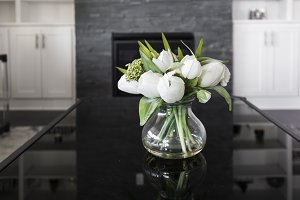 White Tulips on Black Table