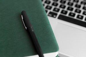 Laptop, Pen & Dark Green Notebook