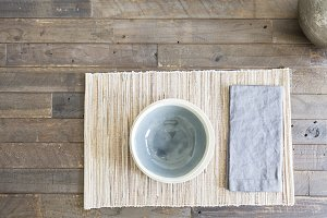 Bamboo Place Setting on Wood Table