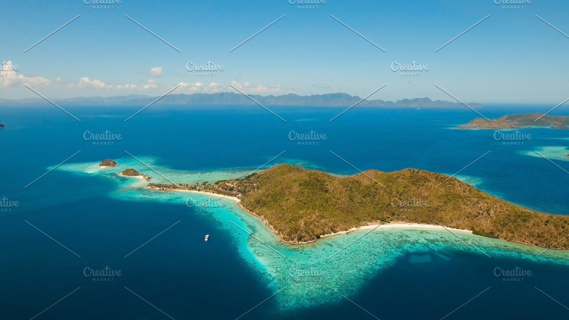 Aerial View Tropical Lagoon Sea Beach Tropical Island Coron Palawan Philippines