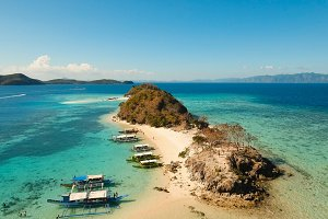 Aerial view beautiful beach on a tropical Island. Philippines.