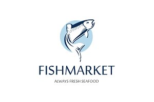 Fish market logo. Retro badge of blue silhouette of salmon. Vintage premium label for seafood restaurant.