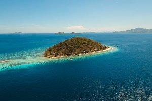 Aerial view beautiful beach on a tropical island Banana. Philippines.