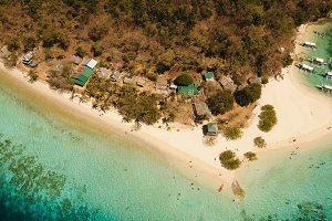 Aerial view beautiful beach on a tropical island Banana. Philippines.