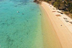 Aerial view beautiful beach on a tropical island. Coron, Palawan, Philippines.