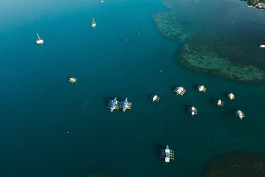 The beautiful bay with boats. Aerial view.