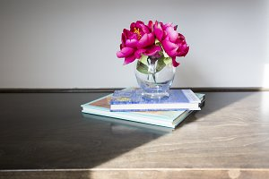 Pink Flowers on Wood Shelve