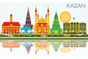 Kazan Skyline with Color Buildings