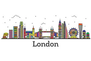 Outline London England City Skyline