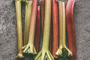Fresh organic rhubarb stalks
