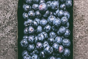 Blueberries in paper crates box