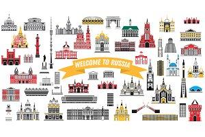 Russia Landmarks Set Isolated