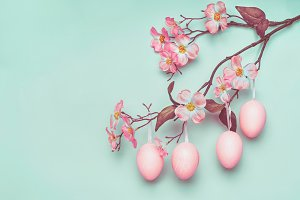 Easter eggs on blossom branch