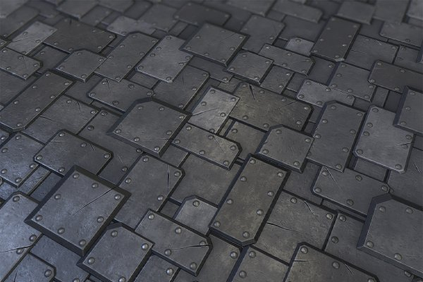 3D Textures & Materials: Environment Design - Metal Plate Tile 02