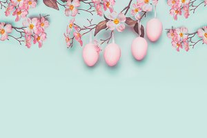 Hanging pastel pink Easter eggs
